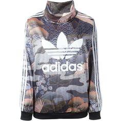 Adidas Originals Kimono Print Sweatshirt (1.093.995 IDR) ❤ liked on Polyvore featuring tops, hoodies, sweatshirts, multicolour, kimono top, adidas originals, colorful tops, long sleeve kimono and logo sweatshirts