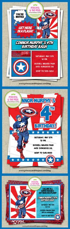 Captain America Personalized Party Invitations | Captain America Party Ideas | Captain America Party    www.princessandthepeas.com  #captainamericainvitations #captainamericaparty