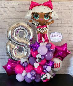 Balloon Bouquet, Balloon Arch, Balloon Garland, Balloon Decorations, 6th Birthday Parties, 8th Birthday, Birthday Party Decorations, Hanging Balloons, Doll Birthday Cake