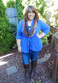 DivineMrsDiva.com - Kiyonna Sunset Stroll Bellini, Lane Bryant Lace-Trimmed Cami, Lane Bryant Genuis Fit Skinny Jeans, Avenue Perry Stretch Boots, Betsey Johnson Scarf