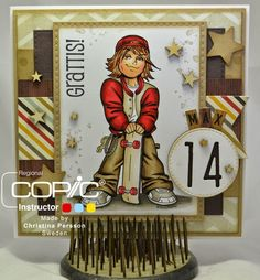 Copic Marker Sweden: Max 14 years - Kenny K image - Skin E71-11-21-00-000-R20-11 Hair E53-23 Jacket / hat T5 E19-08-R27 / E42-41-40 Pants E47-44-43-42 Shoes N7-5-3 Shadow W8-6-4-2-0