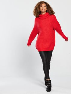 V by Very Oversized Roll Neck Longline Jumper - Red Roll Neck, Long A Line, Latest Fashion, Jumper, Ireland, Latest Trends, Turtle Neck, Red, Sweaters