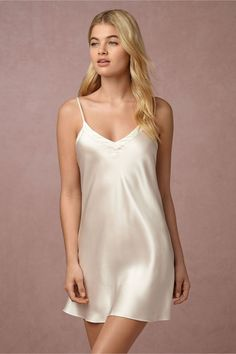 BHLDN Alma Silk Chemise in Bride Bridal Lingerie | BHLDN
