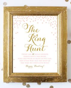 Excited to share the latest addition to my #etsy shop: Pink and Gold Bridal Shower Games . Ring Hunt Game . Pink and Gold Bridal Shower . Printable Instant Digital Download . Gold Glitter