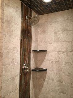 b34100b96d vertical accent with slate The Tile Shop, Bath Ideas, Slate, Door Handles,