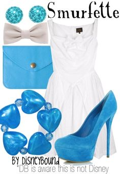 I have a dress like this and shoes too!! I just need the accessories so I can be a Smurfette
