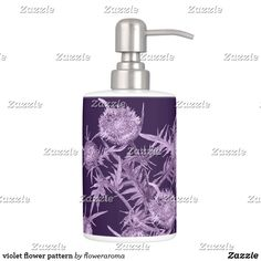 Shop violet flower pattern bath set created by floweraroma. Turquoise Bathroom, White Elephant Gifts, Soap Dispenser, Flower Patterns, Flower Art, Holiday Cards, Art Pieces, Purple, Flowers