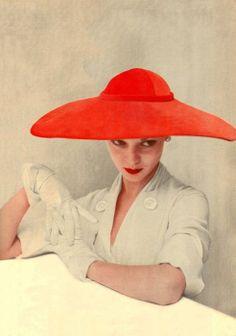 coral Dior hat, Jean Patchet, 1950 Norman Parkinson