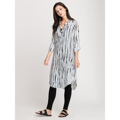 NIC+ZOE Fluid Ink Silk Tunic ($107) ❤ liked on Polyvore featuring tops, tunics, silk tunic, checkered top, slit tunic, slit sleeve top and long sleeve tunic