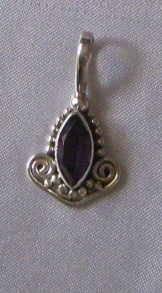 """New Sterling Silver Amethyst Marquise Pendant 1 1/4"""" Drop 5 grams"""