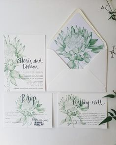 Protea Wedding Invitation, hand drawn in green, includes calligraphy text. Get the full set! Wedding Planning Tips, Wedding Tips, Diy Wedding, Wedding Events, Wedding Day, Perfect Wedding, Weddings, Wedding Dreams, Wedding Bells