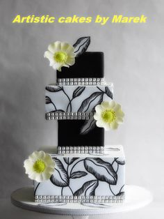 Wedding cake by Marek Black And White Wedding Cake, White Wedding Cakes, Elegant Wedding Cakes, Beautiful Wedding Cakes, Gorgeous Cakes, Pretty Cakes, White Cakes, Big Cakes, Crazy Cakes