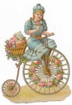 Very  Rare victorian DIE CUT 1890 s bike penny farthing bicycle BQ