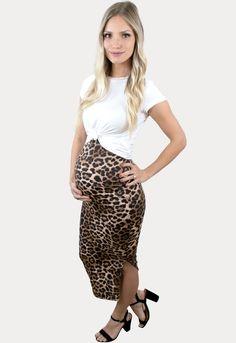Leopard Pregnancy Skirt with Side Slit - Sexy Mama Maternity Maternity Skirt, Cute Maternity Outfits, Pregnancy Outfits, Pregnancy Months, Midi Skirt, Female, Stylish, Bump, Womens Fashion