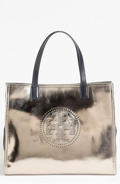 Love my metallics!  Tory Burch 'Small' Perforated Logo Metallic Leather Tote | Nordstrom