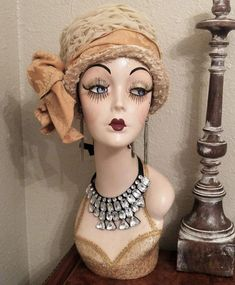 Bib Style, ties in the back. It measures approx. Vintage Mannequin, Mannequin Heads, Doll Head, Doll Face, Leather Jewelry Making, Hat Stands, Shabby Chic Pink, Half Dolls, Hair Painting