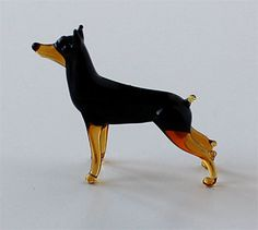 Mini Dog Figurine Blown Glass Murano Micro Sculpture by GoldBark, $4.99