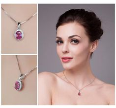 Pink Oval Silver Pendant - Chain Not Included. U To 75% OFF + FREE SHIPPING! #Necklace #FreeShipping #DazzlingSeaJewelry