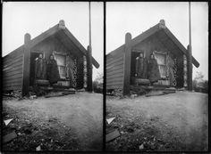 Steregraph of a house labelled Tukiterangi, location unknown, with Makereti Papakura on right. Polynesian People, Maori People, Maori Designs, Maori Art, Photographs, Photos, Maui, Lakes, New Zealand