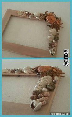 #mušle #DIY #Rámeček #mušle #výrobek #lepení #krab #perly #tvorení