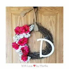 Spring Flowers Wreath  18in grapevine wreath, 2 toned flowers, letter. Only $25!  #spring #springtime #flowers #crafts #handmade #handcrafted #hibiscus #wreath