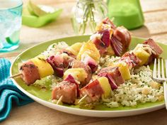 These Cordon Bleu Hawaii Kabobs will cordon blow your mind. Kabobs with SPAM® cubes, pineapple and onion are glazed with pineapple preserves and hot pepper flakes. Then they're grilled to perfection with, get this, melted Swiss cheese on top! Spam Recipes, Cooking Recipes, Pork Recipes, Recipies, Kabob Recipes, Cooking Food, Canned Meat, Cordon Bleu, Special Recipes
