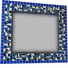 Maybe add white or green in place of silver. Mirror Mosaic, Glass Mosaic Tiles, Mosaic Wall, Wall Mirror, Stained Glass Birds, Stained Glass Panels, Fused Glass, Blue Mosaic, Mosaic Diy
