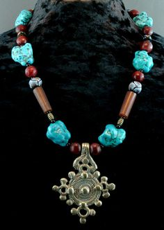 Turquoise Necklace - Ethnic Jewelry - African Trade Beads - Statement Necklace - Ethiopian Cross Pendant - Chunky Beaded Necklace - Beadwork. $250.00, via Etsy.