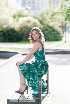 Alexandra G. - Zara Tropical Print Dress, Sole Society Ankle Strap Heels - Tropical Green