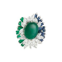 White Gold, Cabochon Synthetic Emerald, Diamond and Synthetic Colored Stone Ring  2 round & 18 marquise-shaped diamonds ap. 3.75 cts.