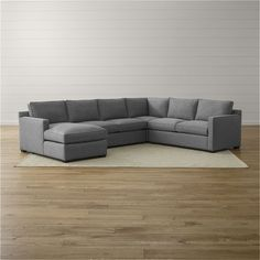 """Crate & Barrel Davis 4-Piece Sectional Sofa (4,945 CAD) ❤ approx 126"""" and can be made with pullout and air topper mattress."""
