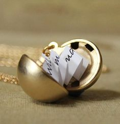secret note locket. This would be so cute to right like a favorite quote or have someone right a love note to the person recieving it! #love