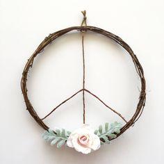 Peace Sign Wreath/Boho Wreath/Boho Chic Wreath/Modern Wreath/Boho Wall Hanging/Boho Art/Boho Decor/Peace Wreath/Boho Wedding/Rustic Wreath by SunshineSkyStudio on Etsy