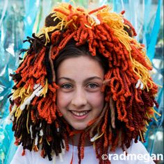 Easy no sew kids lion halloween costume pinterest lion halloween diy lion headdress with yarn scraps and ribbon easy halloween costume solutioingenieria Image collections