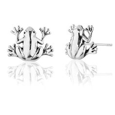 925 Sterling Silver Frog Stud Earrings Nickel Free >>> See this great product.