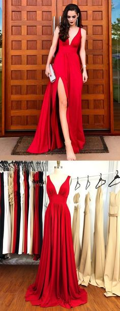 A-Line V-Neck red Satin Bridesmaid Dress with Split by MeetBeauty, $120.64 USD