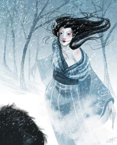 The Yuki-onna are one of many creepy ghosts and demons from Japanese folklore Yuki Onna, Creepy Ghost, Scary Art, Japanese Yokai, Japanese Art, Japanese Culture, Japanese Mythical Creatures, Japanese Urban Legends, Spirit Ghost