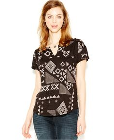 Lucky Brand Short-Sleeve Printed Peasant Top - Tops - Women - Macy's