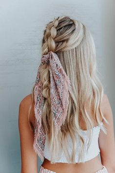 Sweet Hairstyles, Headband Hairstyles, Summer Hairstyles, Prom Hairstyles, Elegant Hairstyles, Hairstyle Ideas, Hairstyles With Scarves, Pretty Hairstyles, Long Hairstyles