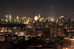 View of the New York City in the Night.