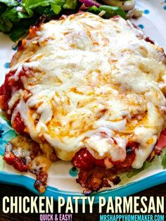 If you love chicken parmesan and quick & easy meals like I do - then you're gonna love this Chicken Patty Parmesan. It's ready in less than 30 minutes! Pizza Casserole, Casserole Recipes, Squash Casserole, Potato Recipes, Chicken Recipes, Chicken Patty Parmesan Recipe, Meatball Recipes, Enchiladas, Cheesy Ranch Potatoes