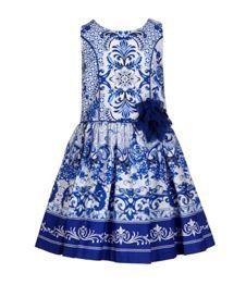 Bonnie Jean 4-6X Floral/Scroll-Printed Poplin Dress