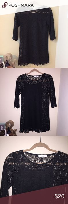 """Black Lace Dress This black lace dress is perfect for a night out! Features quarter length sleeves and scallop detailing on the bottom. Come with a slip underneath since the lining is sheer. The lace also has flower detailing.  🌵 Brand new! 🌵 Size medium  🌵 I'm 4""""11 and it comes down to my thigh! Papaya Dresses Mini"""