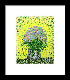 'Explosive Flowers' - framed print on Fine Art America. #art #artist #paintings #acrylics #dots #explosive #flowers #yellow #mauve #purple #exploding #colour #colors #nagohnala #faa #fineartamerica #prints #framedprints #bright #uplifting #positive