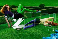 "Jessica Stam, Karen Elson, Elise Crombez "" Red Alert "" by Steven Meisel Vogue Italia August 2004"