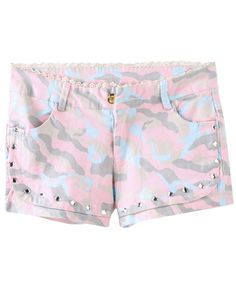 Crystals-detailed Lace-trimmed Camo Print Shorts