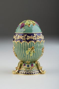 Turquoise light blue Faberge Egg Decorated with grapes
