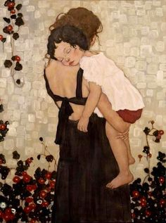 Painting by Xi Pan - Mother & Child