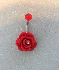 Belly button ring, belly piercing ring with red rose and crystal 14ga. LOVE this!