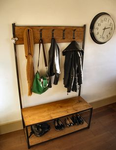 Industrial style coat stand/ bench seat by ppmwoodshop on Etsy